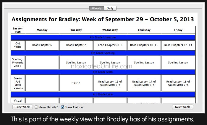 Weekly Assignments on Olly