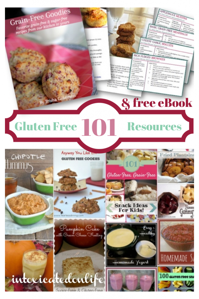 Bookmark this page so you can check out all of these 101 Awesome Gluten Free Resources. Plus instantly download a free book filled with grain-free and sugar-free goodies! IntoxicatedOnLife.com #GlutenFree #GrainFree #Resources