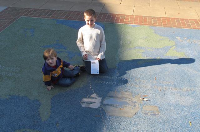 Bradley and Cameron on Jamestown map