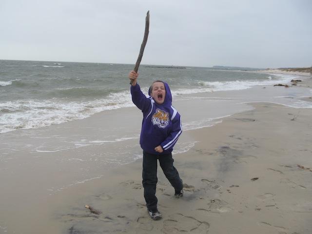 Bradley finds a stick