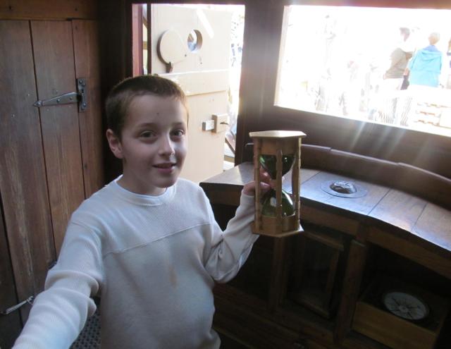 Bradley with an hourglass