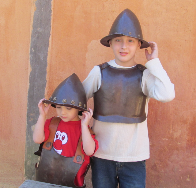 Cameron and Bradley in armor