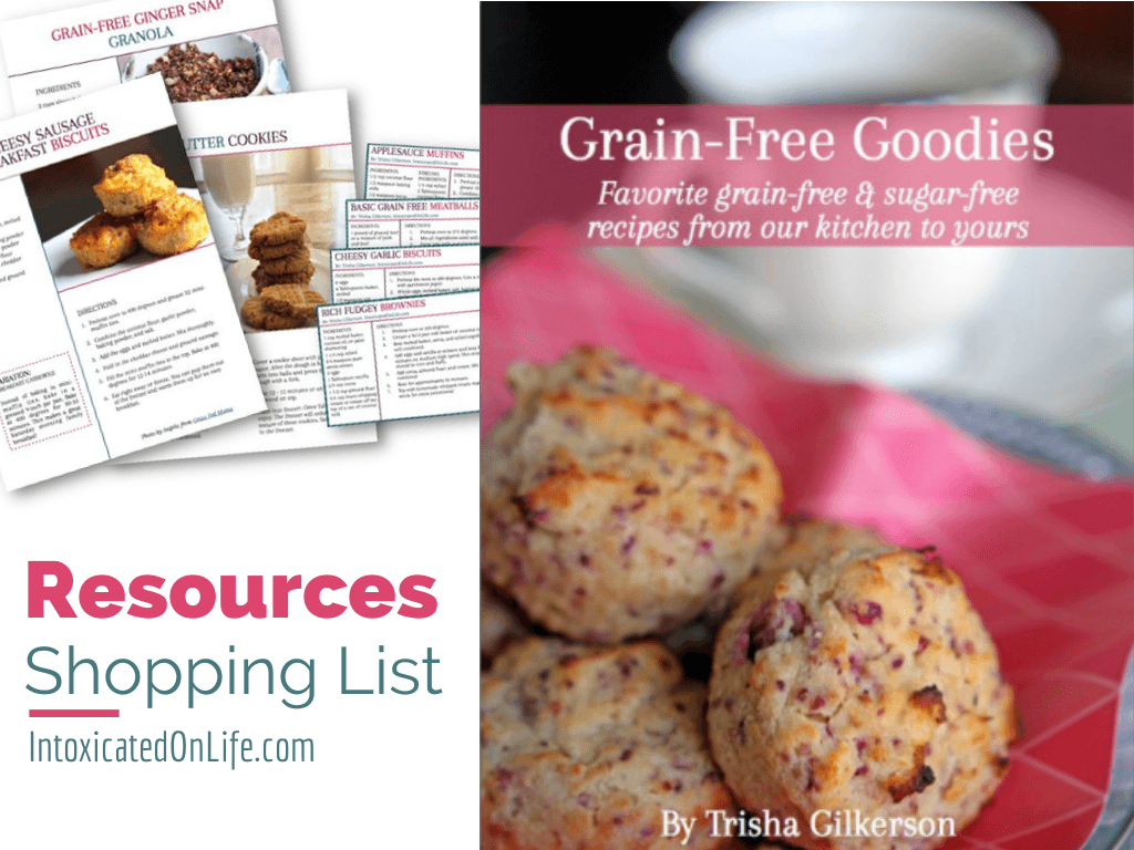 This is a list of speciality ingredients found in our book, Grain-Free Goodies, that you may not have in your cupboard with links to brands I love. https://www.intoxicatedonlife.com/grain-free-goodies-resources/